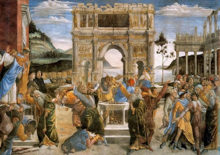 Botticelli, Sandro: The Punishment of Korah and the Stoning of Moses and Aaron. Fine Art Print/Poster. Sizes: A4/A3/A2/A1 (001888)
